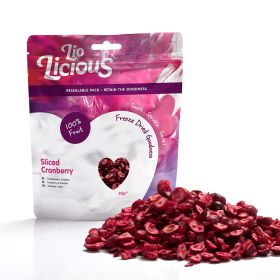 Sliced Cranberry packet with pile of sliced cranberries in front