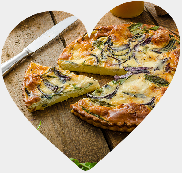 A Quiche sliced in half